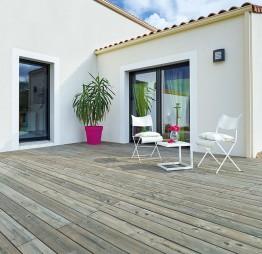 Terrasse bois Catalina en Douglas Classe 3.2, gris par imprégnation