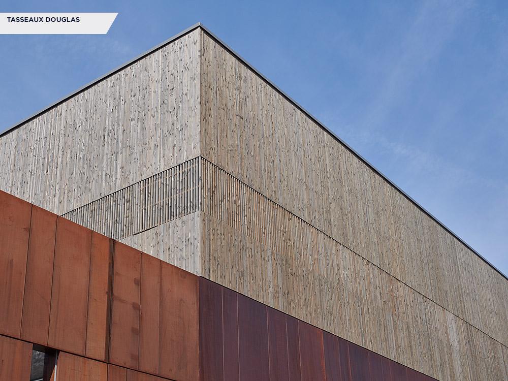 Tasseaux, Douglas imprégné gris - Chaufferie Rézé - Architecte : LWA (75) - Économiste : CETRAC (44) - Entreprise: Trillot Construction (49)