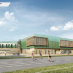 GYMNASE DE L'EUROPE, Angers (49) MURS CLT HEXAPLI 2 400 M² - Réalisation : CMB 79 | Architecte : CRR Ecritures Architecturales